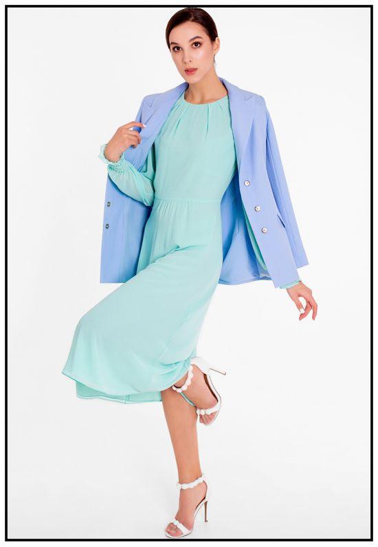 Нежное платье миди мятного цвета