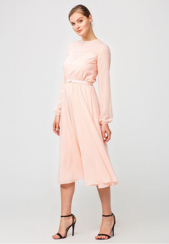 Нежное шифоновое платье миди