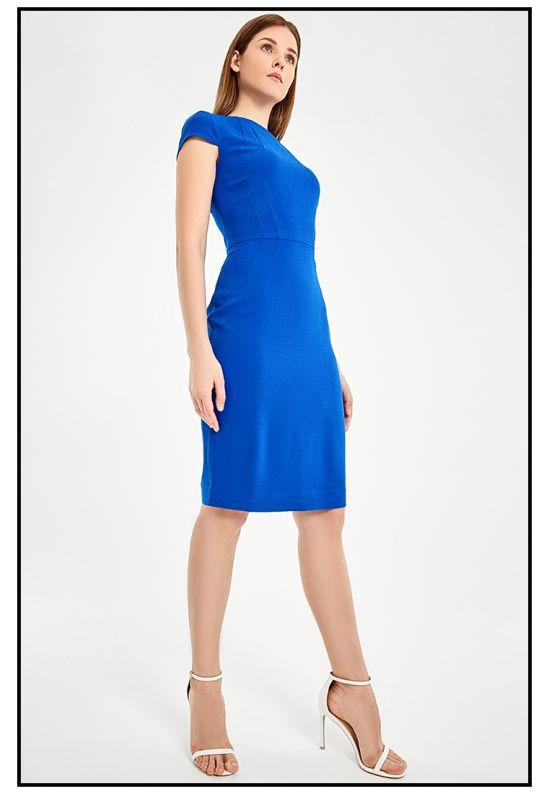 Облегающее синее платье-футляр