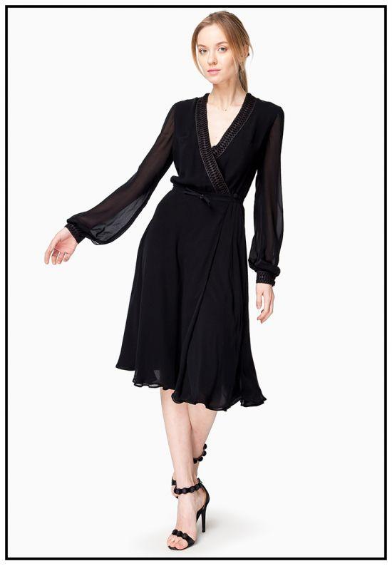 Платье миди на запах черное