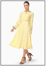 Платье миди нежно-желтого цвета