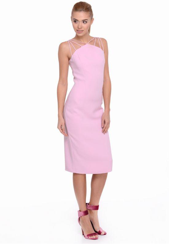 Платье миди пурпурное