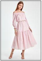 Платье миди с открытыми плечами