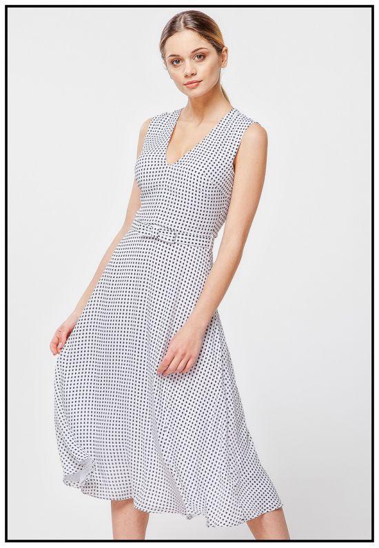 Платье миди с поясом на талии