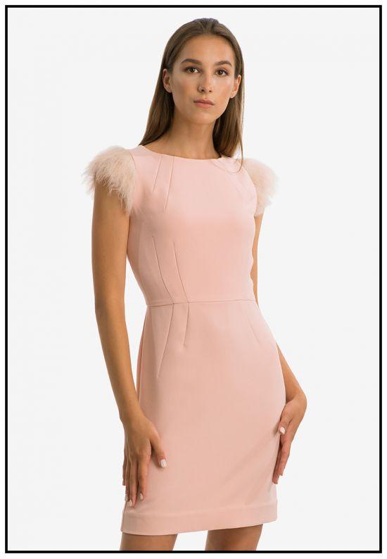 Платье мини c меховыми рукавчиками