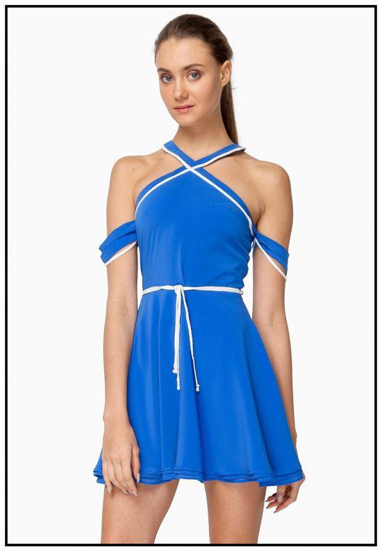 Платье мини насыщенно-голубого цвета