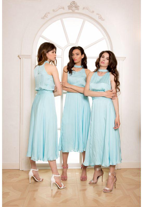 Платье шелковое миди