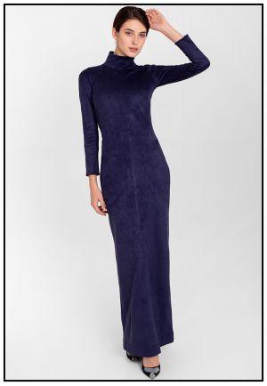 Платье в пол из экозамши