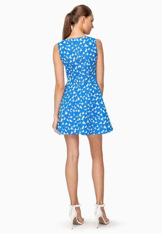 Платье в синие сердца