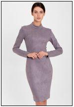 Серое деловое платье из экозамши
