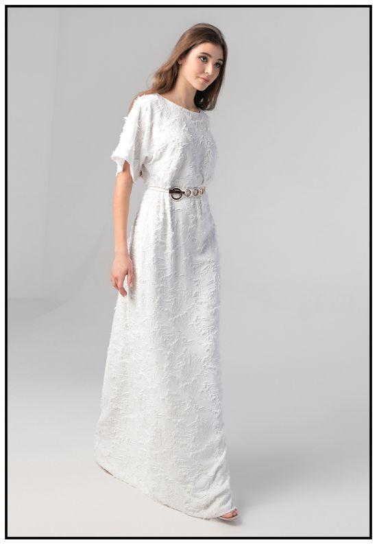 Шелковое белое платье в пол