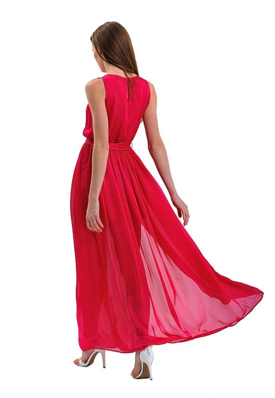 Шелковое ярко-малиновое платье