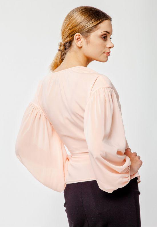 Шифоновая пудровая блузка