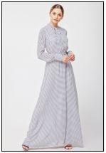 Шифоновое молочное платье в пол