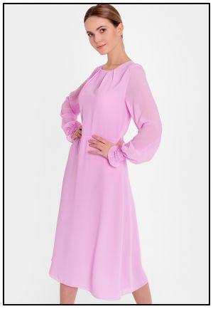 Шифоновое платье в розовом цвете