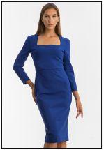 Синее деловое платье