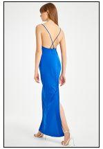 Синее платье в пол на бретелях
