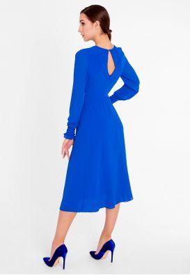 Синее шифоновое платье миди