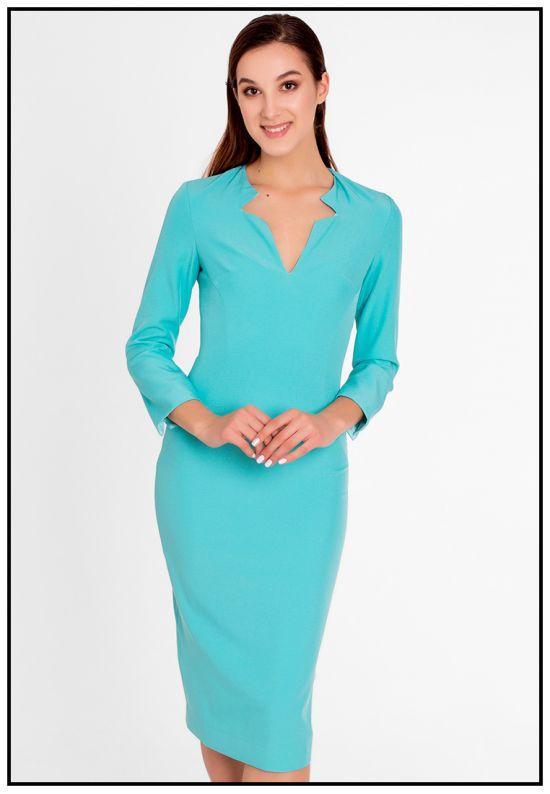 Стильное деловое платье в цвете изумруд