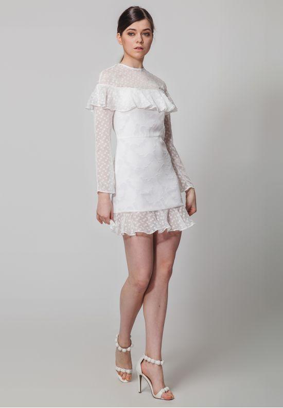 Стильное мини платье с воланами