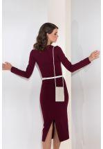 Трикотажное платье миди в цвете бордо