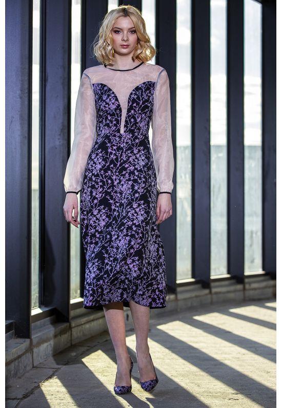 Вечернее платье миди из жаккарда