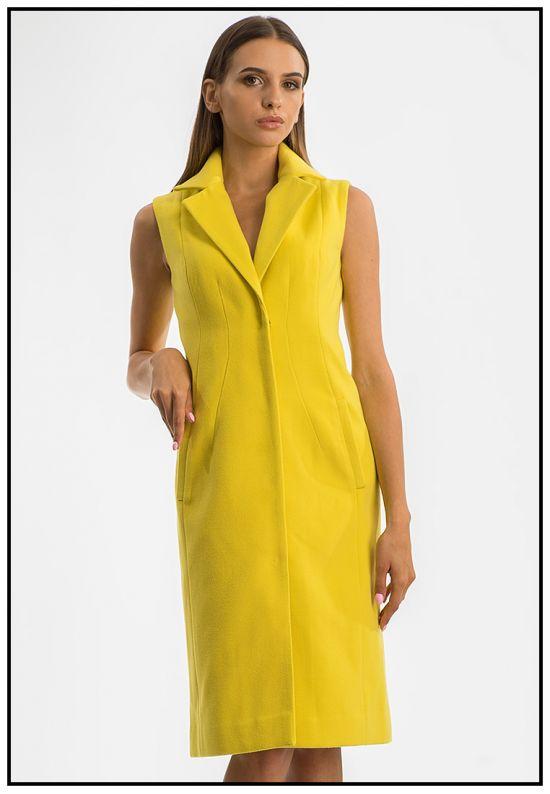 Ярко-желтое платье-жилет