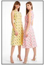 Яркое желтое платье миди