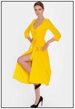 Яркое желтое платье на запах