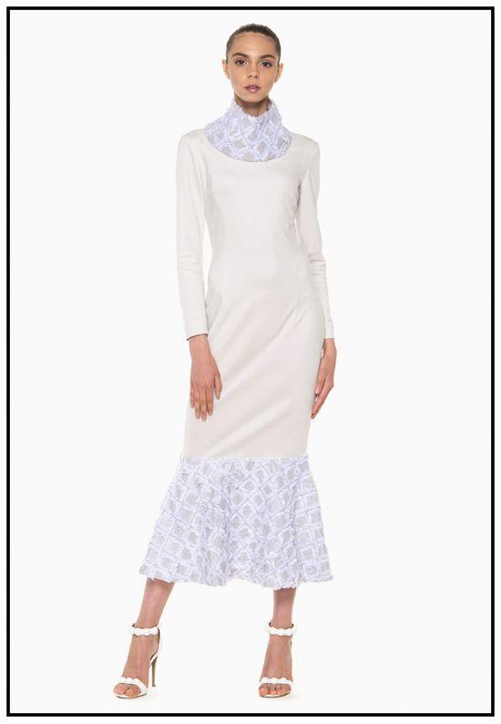 Замшевое платье с жаккардом